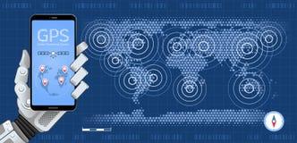 Perseguidor móvel de GPS ilustração do vetor