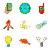 Perseguindo os ícones ajustados, estilo dos desenhos animados Foto de Stock Royalty Free