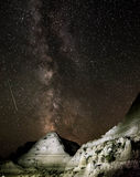 Perseid meteor shower and Milky Way Royalty Free Stock Image