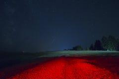 Perseid nattlandskap fotografering för bildbyråer