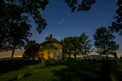 Perseids - Church of St. Matthew. Church of St. Matthew at night with Perseids Royalty Free Stock Photo