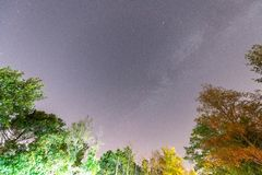 Perseids meteor showers. Shooting stars on the night summer sky.  royalty free stock images