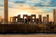 Persepolis är huvudstaden av det forntida Achaemenidkungariket forntida kolonner sikt av Iran Forntida Persien Royaltyfria Foton