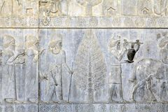 Persepolis ancient capital of Achaemenid empire, bas-relief on w Royalty Free Stock Photos