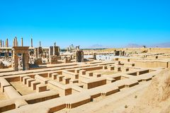 The main landmarks of ancient Persia. Persepolis archaeological site is one of the most popular landmarks of Iran, preserved since the ancient times Royalty Free Stock Photo