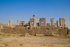 Persepolis is the capital of the Achaemenid kingdom. sight of Iran. Ancient Persia. Bas-relief on the walls of old buildings. Walls of the ancient capital of royalty free stock photo