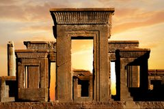 Persepolis - capital of the ancient Achaemenid kingdom. Ancient columns. Sight of Iran. Ancient Persia. Beautiful sunrise background royalty free stock photography