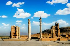 Persepolis is the capital of the ancient Achaemenid kingdom. Ancient columns. Sight of Iran. Ancient Persia Stock Image