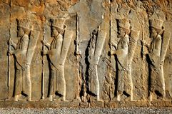 Persepolis is the capital of the ancient Achaemenid kingdom. sight of Iran. Ancient Persia. Bas-relief carved on the walls of old buildings Royalty Free Stock Photography