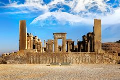 Persepolis is the capital of the ancient Achaemenid kingdom. Sight of Iran. Ancient Persia. Blue sky and clouds background. Persepolis is the capital of the Stock Images