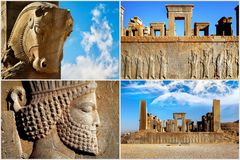 Persepolis is the capital of the ancient Achaemenid kingdom. Sight of Iran. Ancient Persia. Blue sky and clouds background. Composite image Royalty Free Stock Images