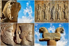 Persepolis is the capital of the ancient Achaemenid kingdom. Sight of Iran. Ancient Persia. Blue sky and clouds background. Composite image Stock Image