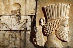 Persepolis est la capitale du royaume antique d'Achaemenid vue de l'Iran Perse antique Bas-relief photo libre de droits