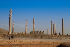 Persepolis is het kapitaal van het Achaemenid-koninkrijk gezicht van Iran Oud Perzi? Bas-hulp op de muren van oude gebouwen stock foto's