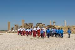 PERSEPOLIS, IRAN - May, 08, 2007: Iranian schoolchildren at Pers Royalty Free Stock Images