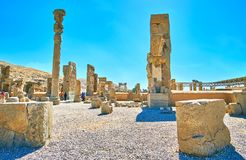 The ruined capital of ancient Persia. PERSEPOLIS, IRAN - OCTOBER 13, 2017: Persepolis archaeological site is the famous tourist destination and notable landmark Royalty Free Stock Image