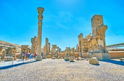 Midday in Persepolis, Iran. PERSEPOLIS, IRAN - OCTOBER 13, 2017: The hot midday in Persepolis archaeological site, the ancient city of Persia, on October 13 in Royalty Free Stock Photo