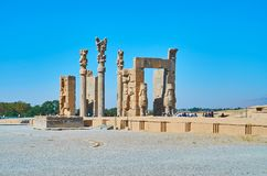 Architecture of ancient Persia. PERSEPOLIS, IRAN - OCTOBER 13, 2017: The ruins of Xerxes All nations Gate are one of the most famous landmarks of Persepolis Royalty Free Stock Photo