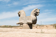 Persepolis, Iran. Persepolis is situated 60 km northeast of the city of Shiraz in Fars Province, Iran.  UNESCO declared the ruins of Persepolis a World Heritage Stock Photo