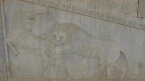 Persepolis lion relief stock footage