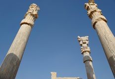Persepolis. Was the ceremonial capital of the Achaemenid Empire ca. 550–330 BC. It is situated 60 km northeast of the city of Shiraz in Fars Province royalty free stock photography