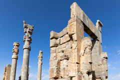 Persepolis on the sunny day. The remaining of the grate Persepolis palace at Shiraz,Iran Stock Photo