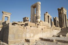 Persepolis. Was the ceremonial capital of the Achaemenid Empire ca. 550–330 BC. It is situated 60 km northeast of the city of Shiraz in Fars Province royalty free stock photo