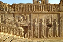 Persepolis. Was the ceremonial capital of the Achaemenid Empire ca. 550–330 BC. It is situated 60 km northeast of the city of Shiraz in Fars Province royalty free stock photos