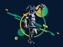 Perseus con el jefe de la medusa ilustración del vector