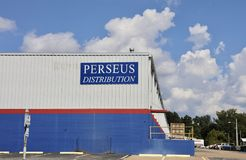 Perseus Distribution Company. Is a staging area for products and goods to be transported throughout the city and state Stock Image