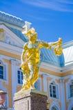 Perseus gold statue in Peterhof Stock Photos
