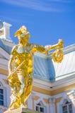 Perseus gold statue in Peterhof Stock Photography