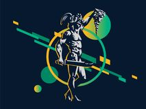 Perseus with the head of Medusa. vector illustration