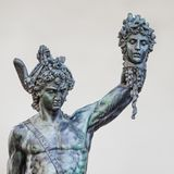 Perseus and Medusa. Perseus holding the head of Medusa by Benvenuto Cellini Stock Images