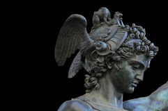 Perseus holding the head of Medusa on black background,Florence Royalty Free Stock Photography