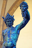 Perseus holding the head of Medusa. Detail of statue of Perseus of Benvenuto Cellini in Florence, Italy royalty free stock photography