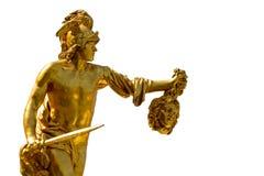 Perseus met het hoofd van Kwal - die op wit wordt geïsoleerdd Stock Foto's