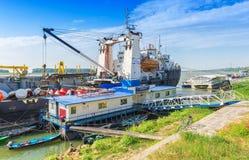 Perseusschip aan kust in Galati wordt vastgelegd die Royalty-vrije Stock Foto
