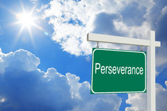 Perseverance. Road Sign with clouds and sky Stock Image