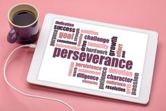 Perseverance word cloud on tablet Stock Image