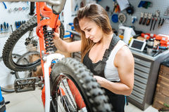 Persevering female master repairing the mountain bicycle. My lovely job. Involved diligent female master standing in the repair shop and working while repairing Royalty Free Stock Image
