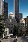 Pershing fyrkant Los Angeles ner stadcityscape arkivfoton