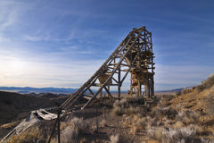 Pershing Quicksilver Headframe. Old wooden head frame at the Pershing Quicksilver Mine Royalty Free Stock Images