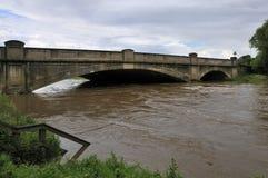 Pershore new bridge in flood Stock Photo