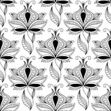 Persian black paisley seamless pattern Stock Photo