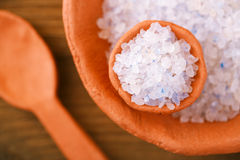 Persian Blue Iranian Crystal Rock salt in rustic clay bowls Stock Photography