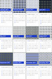 Persian blue and racing green colored geometric patterns calendar 2016 Stock Image