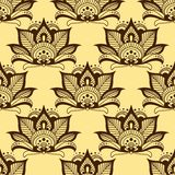 Persian brown paisley seamless floral pattern Royalty Free Stock Photos