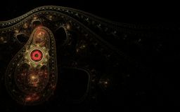 Persian carpet in the dark. Fractal abstraction fabric with patterns of red circles cucumber yellow gold color on a black background royalty free illustration