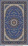 Persian carpet design edited in blue beige and dark navy with border vector illustration